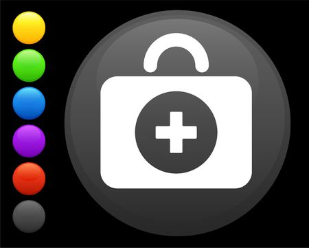 first aid kit icon on round internet button original illustration 6 color versions included  Zdjęcie Seryjne