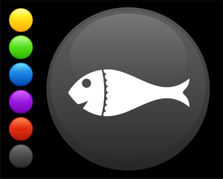 fish icon on round internet button original illustration 6 color versions included  Stock Illustration - 6616708