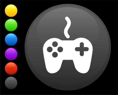 remote controller icon on round internet button original  illustration 6 color versions included  illustration