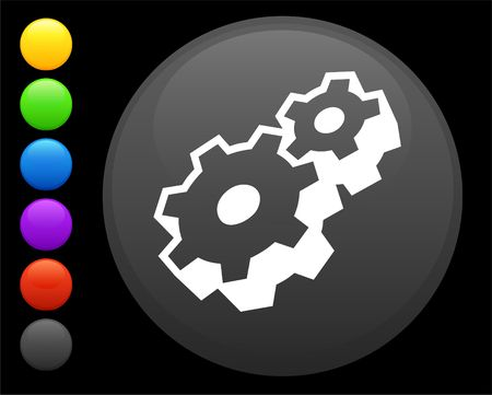 machine part icon on round internet button original  illustration 6 color versions included  Stock Illustration - 6616885