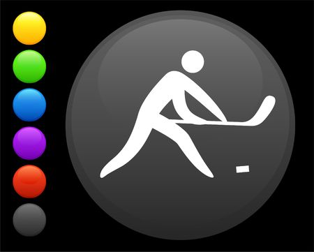 hockey icon on round internet button original  illustration 6 color versions included Stock Illustration - 6617009
