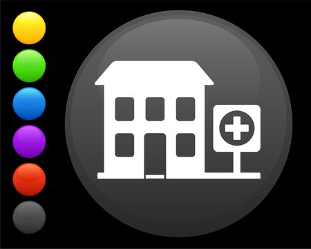 hospital icon on round internet button original  illustration 6 color versions included  illustration