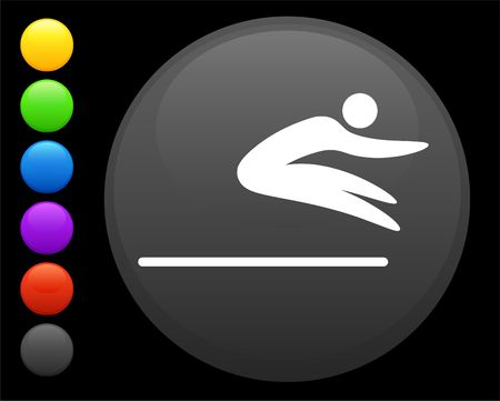 long jump: long jump icon on round internet button original  illustration 6 color versions included Stock Photo