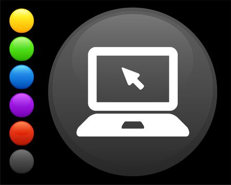 digitally generated image: computer laptop icon on round internet button original illustration 6 color versions included