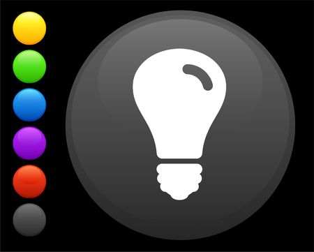 light bulb icon on round internet button original  illustration 6 color versions included Stock Illustration - 6616878