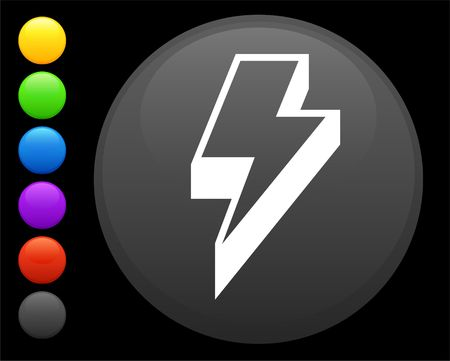 digitally generated image: lightening icon on round internet button original  illustration 6 color versions included  Stock Photo