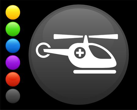 digitally generated image: helicopter icon on round internet button original  illustration 6 color versions included