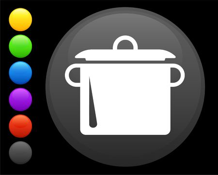 boiling: boiling pot icon on round internet button original  illustration 6 color versions included  Stock Photo