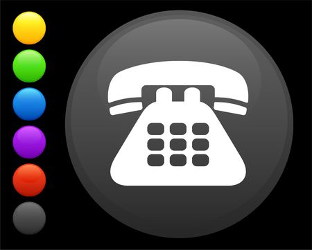 telephone icon on round internet button original illustration 6 color versions included  Stock Illustration - 6616629