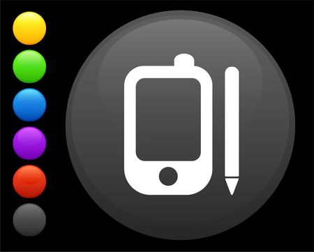 palm pilot: palm pilot icon on round internet button original illustration 6 color versions included
