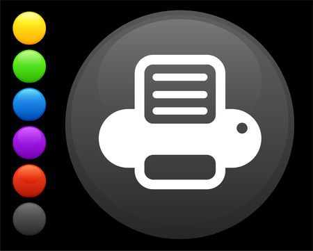 printer icon on round internet button original  illustration 6 color versions included