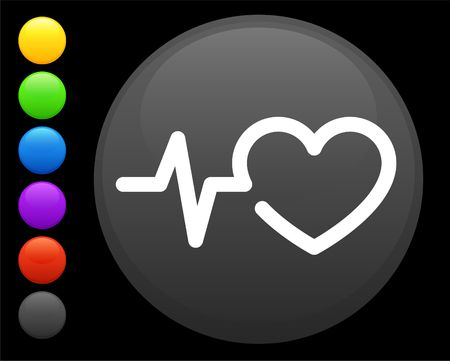 heart rate icon on round internet button original illustration 6 color versions included  Stock Illustration - 6616903