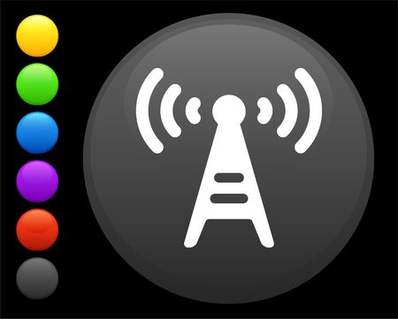 radio tower icon on round internet button original  illustration 6 color versions included Stock Illustration - 6616809