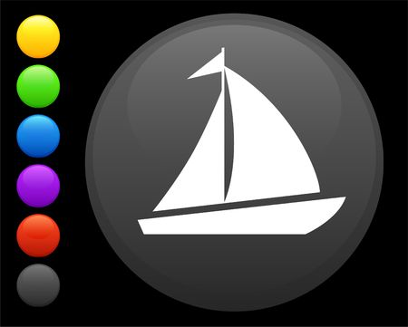 sail icon on round internet button original  illustration 6 color versions included Stock Illustration - 6616883