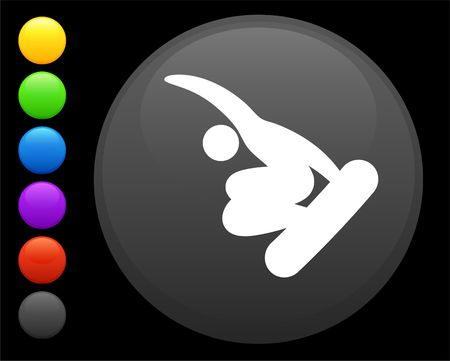 snowboard (skateboard) icon on round internet button original  illustration 6 color versions included Stock Illustration - 6617010
