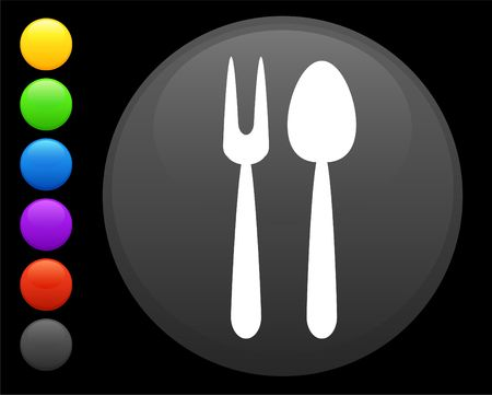expensive food: utensil icon on round internet button original  illustration 6 color versions included