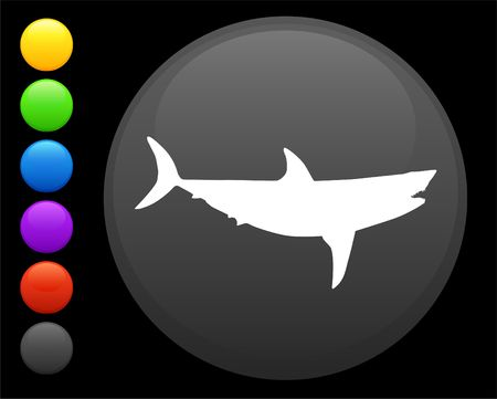 shark icon on round internet button original  illustration 6 color versions included Stock Illustration - 6616637