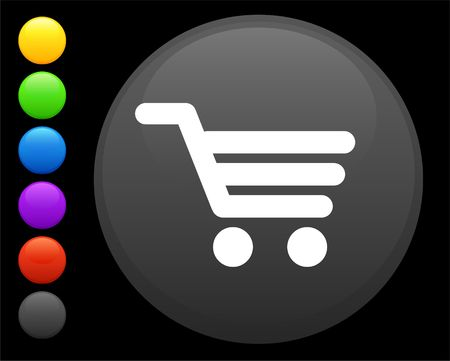 shiny buttons: cart icon on round internet button original illustration 6 color versions included