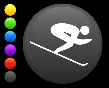 skiing icon on round internet button original  illustration 6 color versions included Stock Illustration - 6616901