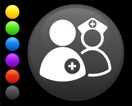 nurse and doctor icon on round internet button original illustration 6 color versions included  illustration