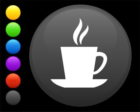 coffee icon on round internet button original  illustration 6 color versions included  illustration