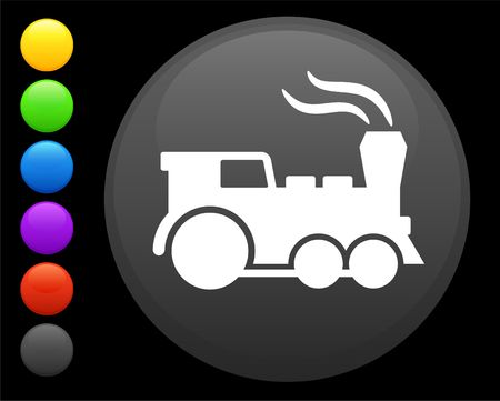communication icons: train icon on round internet button original illustration 6 color versions included  Stock Photo