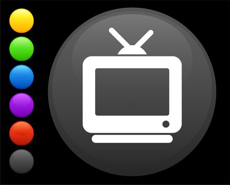 television icon on round internet button original  illustration 6 color versions included  Stock Illustration - 6616666