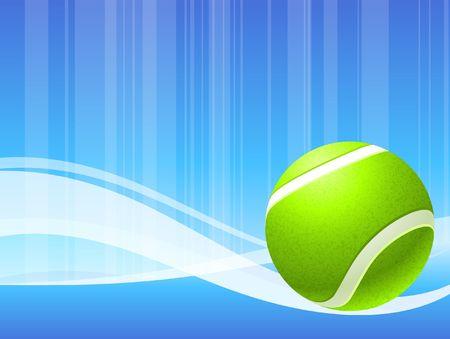 Tennis Ball on Abstract Blue Background Original  Illustration