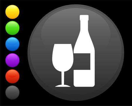 shiny buttons: wine icon on round internet button original  illustration 6 color versions included