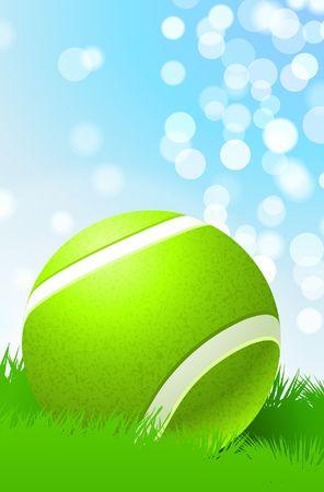 Tennis Ball on Nature Background Original  Illustration Stock Photo