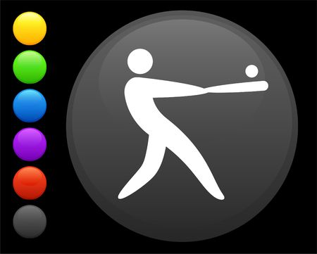 baseball icon on round internet button original  illustration 6 color versions included  illustration
