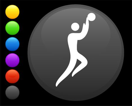 basketball icon on round internet button original  illustration 6 color versions included  illustration