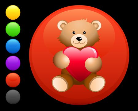 love image: teddy break icon on round internet button original  illustration 6 color versions included  Stock Photo
