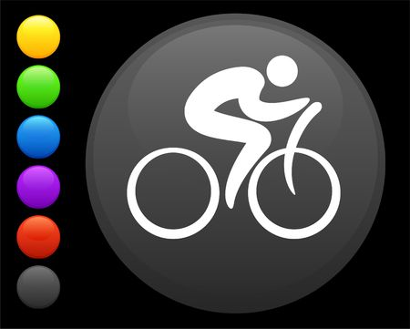 cyclist icon on round internet button original  illustration 6 color versions included  illustration