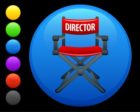 director chair icon on round internet button original  illustration 6 color versions included  illustration