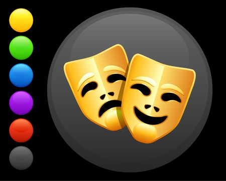 comedy: tragedy and comedy masks icon on round internet button original illustration 6 color versions included  Stock Photo