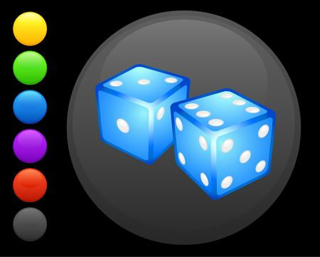 dice icon on round internet button original  illustration 6 color versions included