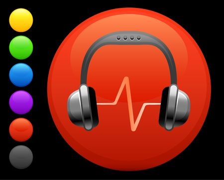 digitally generated image: headphones icon on round internet button original illustration 6 color versions included