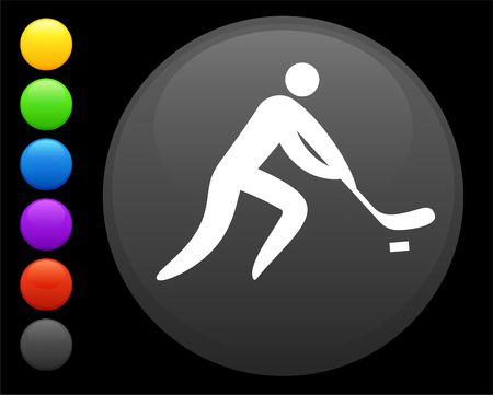 hockey icon on round internet button original  illustration 6 color versions included Stock Illustration - 6616893