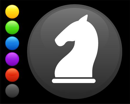knight chess piece icon on round internet button original  illustration 6 color versions included  illustration