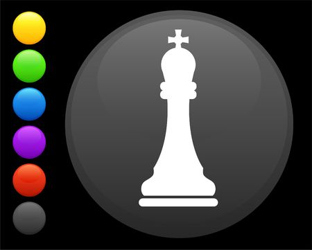 reflection: king chess piece icon on round internet button original  illustration 6 color versions included
