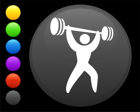 dumbell: weightlifter icon on round internet button original illustration 6 color versions included