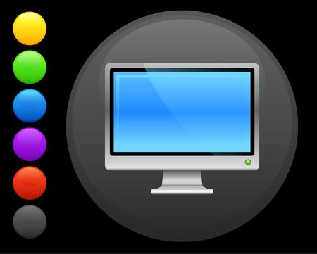 computer screen icon on round internet button original  illustration 6 color versions included  Stock Illustration - 6618054