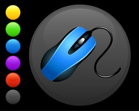 icono de mouse (ratón) en Ronda internet botón ilustración 6 colores versiones originales incluidas  Foto de archivo - 6617310
