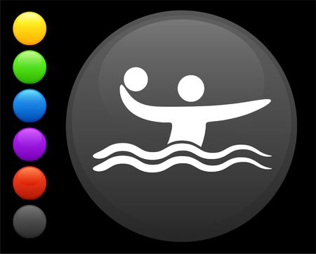 water polo icon on round internet button original  illustration 6 color versions included  illustration