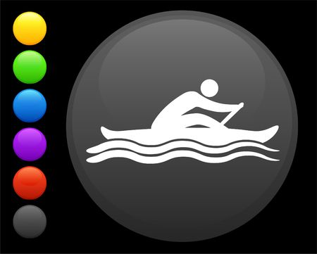 rowing icon on round internet button original  illustration 6 color versions included  illustration