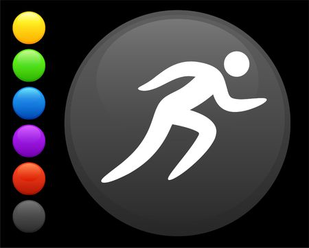 running icon on round internet button original  illustration 6 color versions included