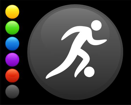 soccer (football) icon on round internet button original  illustration 6 color versions included  illustration