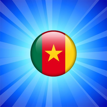 Cameroon Flag Icon on Internet Button Original Illustration illustration