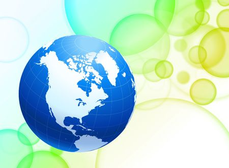 Globe on Abstract Color Background Original  Illustration Stock Photo